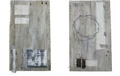 Gizella K Warburton |notes on pale board i-vi textile, mixed media, stitch, weathered board 208 x 48 x 3cm deep