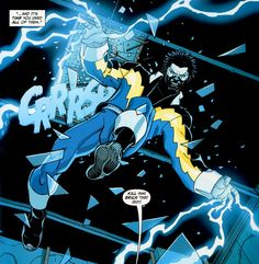 Black Lightning Black Lightning Tv Show, Black Lightning Static Shock, Thunder And Lightning, Comic Books Art, Comic Art, Book Art, Dc Comics Funny, Arte Nerd, Black Comics