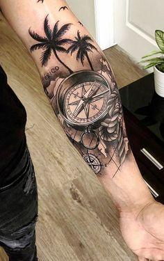 Pictures of Compass Tattoos and Maps Tattoos Ideas Today Pin is part of pizza - Fotos de Tatuagens de Bússolas e Mapas Tatuagens Ideias Pictures of Compass Tattoos and Maps Tattoos Ideas Tropisches Tattoo, Forarm Tattoos, Map Tattoos, Tattoo Fails, Forearm Sleeve Tattoos, Best Sleeve Tattoos, Tattoo Sleeve Designs, Body Art Tattoos, Tattoos Pics