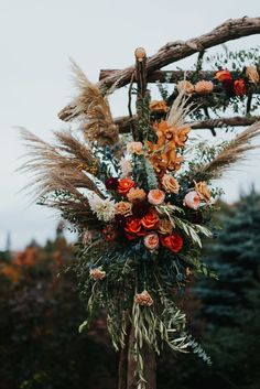 Natolie and Trent had the most spectacular fall wedding in Vermont with a glass marquee, gorgeous florals, edible decor, and a beautiful outdoor ceremony Orange Wedding Flowers, Fall Wedding Bouquets, Wedding Hair Flowers, Floral Wedding, Dream Wedding, Bush Wedding, Sunset Wedding, Tent Wedding, Glamorous Wedding