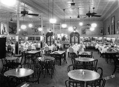 The dining room at Las Novedades Cafe & Restaurant, still at its original location, early 1940s.