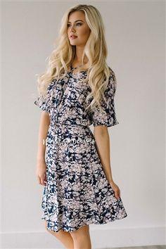 f28eb193866 Navy Mauve Floral Spring Modest Church Dress