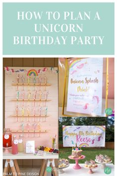 This unicorn birthday party has everything you need to celebrate! From personalized party invites to DIY unicorn party decorations and delicious food ideas your kids will love, this unicorn party is sure to be a hit! There is even a custom unicorn vinyl banner! Visit the blog to see how you can pull off this unicorn birthday party for your favorite little girl in your life! #unicornbirthdayparty #girlsunicornparty #unicornbirthdaydecor #uniocornbirthdaycake Happy 6th Birthday, Rainbow Birthday Party, Unicorn Birthday Parties, Diy Unicorn Party Decorations, Sprinkler Party, Invites, Party Invitations, Unicorn Sprinkles, Pine Design