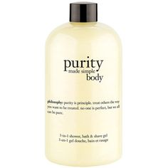 philosophy 'purity made simple body' 3-in-1 shower, bath & shave gel ($28) ❤ liked on Polyvore featuring beauty products, bath & body products, body cleansers and no color