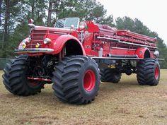 A firetruck monster truck Just for you Randy! Custom Trucks, Cool Trucks, Fire Trucks, Pickup Trucks, Cool Cars, Customised Trucks, Weird Cars, Lifted Trucks, Brush Truck