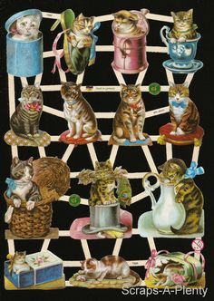 German Victorian Style Embossed Scrap Die Cut Cats in Containers EF7360   eBay