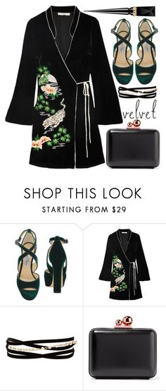 """Crushing on Velvet"" by alaria ❤ liked on Polyvore featuring Jimmy Choo, RIXO London, Kenneth Jay Lane, Sophia Webster, Christian Louboutin and velvet"