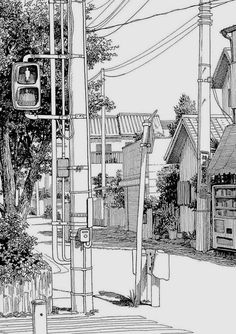 Architectural - Urban Sketches and Cityscape Drawings Landscape Drawings, Architecture Drawings, Classical Architecture, Drawing Sketches, Art Drawings, Town Drawing, Sketch Painting, Manga Drawing, Cityscape Drawing