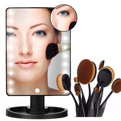 YBeauty Queen 180° Touch Screen 16 LED Light Make Up Cosmetic Vanity Mirror w/ removable 5X Magnifying Mirror and 10 Piece Professional Makeup Brush Set *** You can get additional details at the image link. (This is an affiliate link and I receive a commission for the sales)
