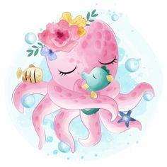 Looking for Awesome Vintage wedding png with transparent background? Baby Animal Drawings, Art Drawings For Kids, Drawing For Kids, Cute Drawings, Kraken Octopus, Cute Octopus, Cute Images, Cute Pictures, Hello Pictures