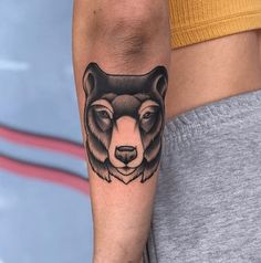 If you're into hunting or nature in general, or perhaps you've deemed the bear as your spirit animal, you'll likely enjoy having a bear tattoo. Small Forearm Tattoos, Forearm Sleeve Tattoos, Forearm Tattoo Design, Bear Tattoos, Your Spirit Animal, Black And Grey, Hunting, Tattoo Designs, Nature