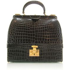 Hermes Vintage Crocodile Sac Mallette Handbag (bottom doubles as a jewelry case)