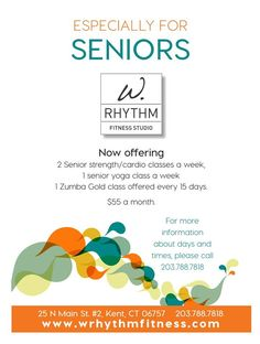 Senior Classes Now Offering 2 Senior Strength/Cardio Classes a Week 1 Senior Yoga Class a Week 1 Zumba Gold Class Offered Every 15 Days  $55.00 per month