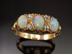 Antique Diamond Triple Opal Ring, 1902 in 18k Gold, Size 6, 0.20cts