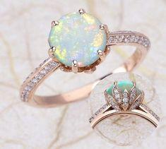 lotus flower design opal engagement ring - Diamond Alternatives
