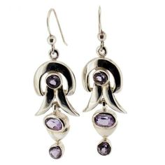 Amethyst .925 Sterling Silver Dangle Hook Earrings Purple Gemstone Jewelry