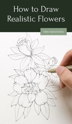 Learn to draw realistic flowers in only 5 days with this FREE mini course! From the comfort of your couch you can improve in your drawing techniques and abilities through 5 of my favorite tips and… Flower Drawing Tutorials, Watercolour Tutorials, Drawing Lessons, Drawing Techniques, Drawing Ideas, Pencil Art Drawings, Realistic Drawings, Botanical Drawings, Botanical Art