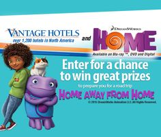 "Vantage Hotels and ""Home"" from DreamWorks Animation offer the chance to win great prizes in the new Home Away From Home contest. #homeawayfromhome"
