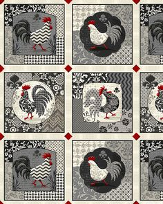 "Poulets De Provence - Patterned Roosters - 24"" x 44"" PANEL.  by Steve Haskamp for Spectrix."