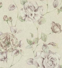 Papel pintado flores románticas grandes de estilo vintage - 1142932