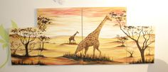 oil paint 4 pieces Africa giraffe