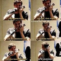 """Isaac"" yelling at JR (Chris) for taking Isaac to France and left him there haha"
