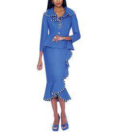 This Royal Blue Ruffle Peplum Jacket & Skirt - Women & Plus is perfect! #zulilyfinds