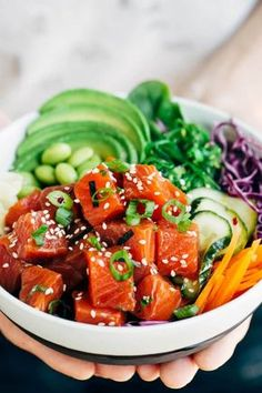 Sockeye Salmon Poke Bowls Spicy Sockeye Salmon Poke Bowls - Healthy and flavorful Luxe Gourmets protein infused with Japanese inspired flavors for a delicious gourmet meal! Salmon Recipes, Lunch Recipes, Seafood Recipes, Asian Recipes, Gourmet Recipes, Healthy Recipes, Healthy Meals, Gourmet Meals, Chinese Recipes