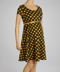 Look at this #zulilyfind! Black & Mustard Polka Dot Belted Maternity Dress by Mom & Co. #zulilyfinds