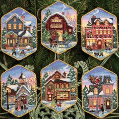 Solo Patrones Punto Cruz 1/8 Christmas Village Ornaments