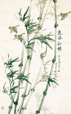 Traditional Chinese painting on Bamboo forests Chinese Artwork, Japanese Artwork, Japanese Prints, Sumi E Painting, Japan Painting, Traditional Paintings, Traditional Art, Bamboo Art, Art Asiatique