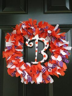 Clemson Tigers Personalized Fabric Wreath by TigerGirlCreations, $35.00