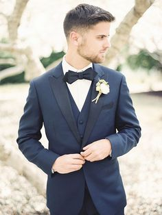 Classic Three Piece Suit in Navy Blue | Krista A. Jones Fine Art Photography | Artistic French Blue Wedding