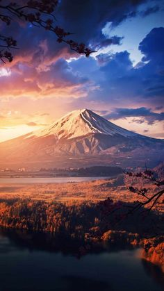 Mountain Volcano Sunset View - IPhone Wallpapers