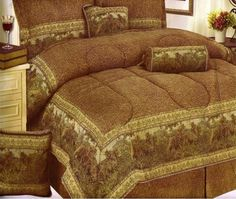Brand new tapestry Queen Horse 7PCS comforter bed in a bag by Horse. $69.95. Bring the expanse and beauty of the great outdoors into your bedroom with the impressive Horse Design comforter set. An exquisite tapestry design features horses and pine trees in a picturesque mountain range. An acorn border and corded trim only enhance this stunning set and in shades of forest greens, beiges and other soft, natural tones, the oversized and overstuffed comforter fits nearly ever...