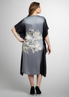 Marina Rinaldi silk ombré embroidered kimono dress