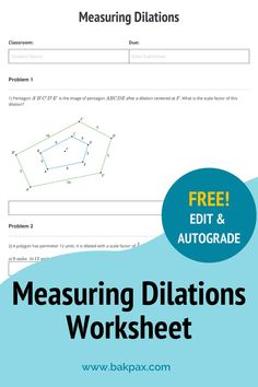 This free Measuring Dilations Geometry worksheet with answers is fully customizable and autogradable with Bakpax! Better yet, students can complete it online or on paper. Check out more standards-aligned math assignments like this one at bakpax.com. Middle School, High School, Math Lab, Geometry Worksheets, Terms Of Service, Students, Abs, Classroom, The Unit