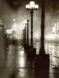 Alvin Langdon Coburn: Broadway at Night, 1910 Vintage photogravure from New York A. Coburn publisher, 7 x 5 inches, mounted to 17 x 14 inch green paper. From New York, Alvin Langdon Coburn publisher* Night Photography, Vintage Photography, Street Photography, Art Photography, Photography Aesthetic, Photography Institute, Travel Photography, Robert Frank, Old Photos