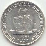 Монета: 100 Lire (900th Anniversary of University of Bologna) (Италия) (1970~2001 - Республика (Лиры) - Памятные Монеты) WCC:km127