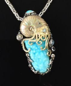 Bakercustomjewelry.com!  LOVE THIS!  AMMONITE, HEMIMORPHITE, SS/14KT JURASSIC CLASSIC PENDANT