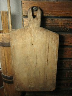 Great Granny's Old Super Primitive Handled Wooden Bread Board w. Early Tin Repair $135