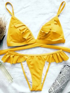 SHARE & Get it FREE | Cami Frilly High Leg Bikini - Yellow SFor Fashion Lovers only:80,000+ Items • New Arrivals Daily Join Zaful: Get YOUR $50 NOW!