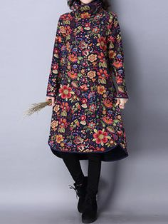 Women Vintage Turtleneck Long Sleeve Floral Printed Irregular Thicken Dresses