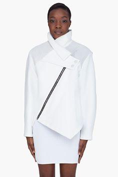 PROENZA SCHOULER White Leather Trim Asymmetric Jacket