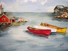 Veronica Reid-Donald, Three Canoe, watercolor
