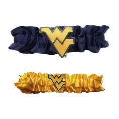 "West Virginia Mountaineers Ncaa Garter Set ""one To Keep One To Throw"" (navy Blue-yellow)"