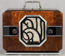Art Deco Chrome Grill Emerson Wood Vacuum Tube Radio