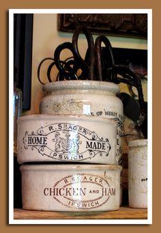 Finely crazed R. Seager porcelain meat pots from Ipswich, England Antique Crocks, Old Crocks, Antique Stoneware, Stoneware Crocks, Earthenware, Shabby, Objets Antiques, Wooden Snowmen, Primitive Snowmen