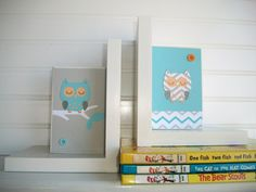 Bookends for children . Modern. Chevron . Owls.     By RessieLillian.Etsy.com One Fish Two Fish, Red Fish, Custom Book, Nursery Room Decor, Book Gifts, Bookends, Chevron, Crafty, Handmade Gifts