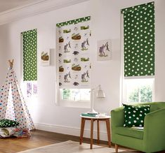 Charming Enormous Crocodile Blind And White U0026amp; Green Polka Dot Is Practical, Fun  And Colourful